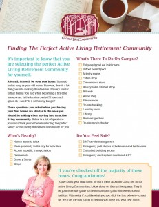 If you'd like to learn more about how to finding the perfect active living retirement community, feel free to download and fill out this worksheet.